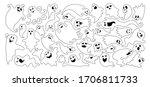 ghost flat black line... | Shutterstock .eps vector #1706811733