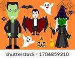 Halloween Vector Set Ghost Bat...