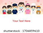 the frontline workers who work...   Shutterstock .eps vector #1706859610