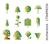 set of abstract stylized trees. ... | Shutterstock .eps vector #1706898256