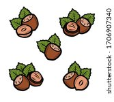 hazelnut nuts set. collection... | Shutterstock .eps vector #1706907340