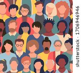 seamless pattern with people... | Shutterstock .eps vector #1706946946