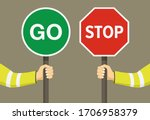 outdoor worker holding stop and ... | Shutterstock .eps vector #1706958379