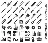 set icons for carpentry tools ...   Shutterstock .eps vector #1706987689