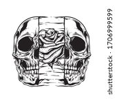 Skull Rose Illustration With...