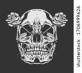 Skull Rose Illustration With...