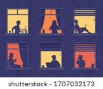 people in windows house look... | Shutterstock .eps vector #1707032173