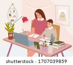 cute happy mother with computer ...   Shutterstock .eps vector #1707039859