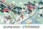 isometric graphic design vector ... | Shutterstock .eps vector #1707046063