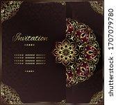 vintage background mandala card ... | Shutterstock .eps vector #1707079780