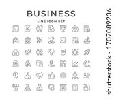 set line icons of business... | Shutterstock . vector #1707089236