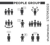 set of 9 simple people group... | Shutterstock .eps vector #1707092023