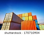 Stack Of Cargo Containers At...