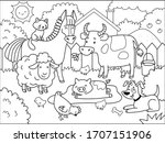 farm animals.  coloring book... | Shutterstock .eps vector #1707151906