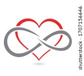 red heart icon  with an inner... | Shutterstock .eps vector #1707156646