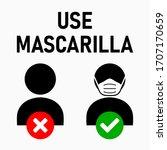 "use mascarilla  ""wear a face...   Shutterstock .eps vector #1707170659"
