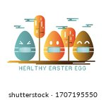 easter eggs wearing mask... | Shutterstock .eps vector #1707195550