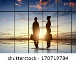 silhouette of businesswoman... | Shutterstock . vector #170719784