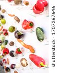 vegetables and fruits on small... | Shutterstock . vector #1707267646