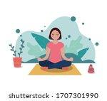 vector illustration of a girl... | Shutterstock .eps vector #1707301990