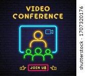 video conference neon light... | Shutterstock .eps vector #1707320176