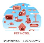 pet hotel. dog and cat daycare .... | Shutterstock .eps vector #1707330949
