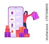 e shop  shopping concept with... | Shutterstock .eps vector #1707348043