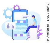data analysis  strategy. man... | Shutterstock .eps vector #1707348049