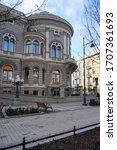 Small photo of LODZ,POLAND, MARCH , 04,2020 ; Academy of Music in Lodz - the former palace of the Lodz industrialist Izrael Poznanski