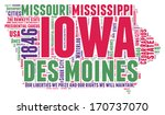 Iowa USA state map vector tag cloud illustration
