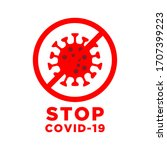 vector of stop sign for corona... | Shutterstock .eps vector #1707399223