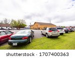 Small photo of Denison, TX / United States - April 12 2020: A drive-in Easter service led by Pastor Joshua Jackson is held at Mt. Pleasant Missionary Baptist Church in Denison, Texas on April 12, 2020.