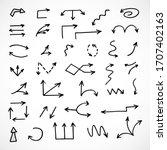 vector set of hand drawn arrows | Shutterstock .eps vector #1707402163