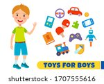 vector boy with colorful toys...   Shutterstock .eps vector #1707555616
