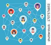 social networking and... | Shutterstock .eps vector #1707576853