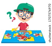 kid playing colorful jigsaw... | Shutterstock .eps vector #1707576970