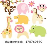 baby safari animals   girl | Shutterstock .eps vector #170760590
