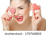 Girl With Red Hearts Isolated...