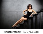 sexy woman lying on stairs at