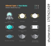 different type of face masks.... | Shutterstock .eps vector #1707621439