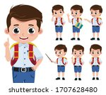 school boy vector character set.... | Shutterstock .eps vector #1707628480