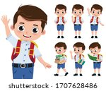 school kid vector character set.... | Shutterstock .eps vector #1707628486