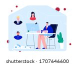 stay at home. a man works from... | Shutterstock .eps vector #1707646600