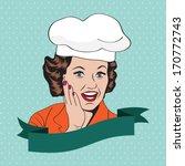 Lady Chef   Retro Illustration...