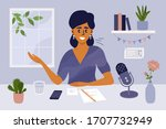 stay at home  recording podcast ... | Shutterstock .eps vector #1707732949