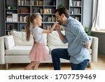 Cute Daughter Play With Father...