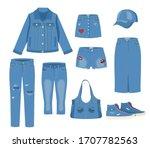 jeans clothing set. trendy... | Shutterstock .eps vector #1707782563