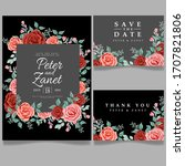 floral wedding card event... | Shutterstock .eps vector #1707821806