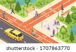 bicycle path and bike road lane ... | Shutterstock .eps vector #1707863770