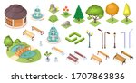 park trees and landscape... | Shutterstock .eps vector #1707863836
